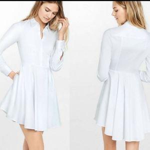 Express White Cotton Shirt Dress